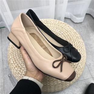 新款 工厂断码 方头浅口中跟牛皮女工作鞋 拼色单鞋 热卖 处理2020春季