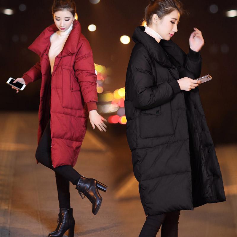 2020新款女装冬季宽松中长款羽绒服女红色黑色立领白鸭绒外套加厚