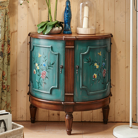 美式乡村复古彩绘门厅柜进门装饰柜两门半圆小玄关柜收纳储物柜子