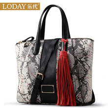 Ledai women's head leather one shoulder handbag women's Crossbody leather bag 2017 new Python pattern bag