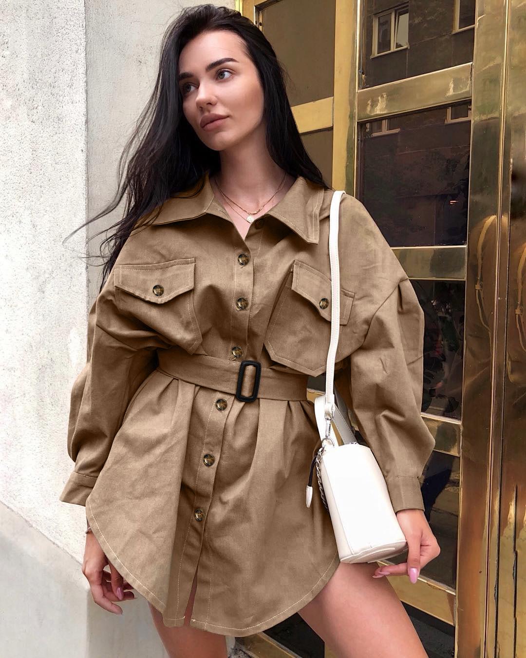 欧美卡其色连衣裙办公室腰带复古礼服长袖中裙口袋系带休闲套装女