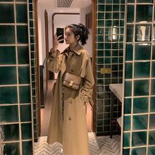 风衣女中长款2020春秋季新款韩版宽松过膝气质港风设计感大衣外套