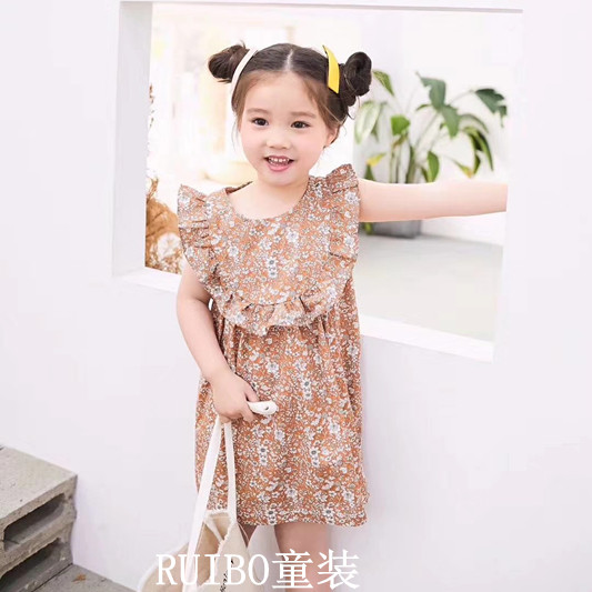 Clearance Korean childrens summer New Girls Cotton Floral Dress lotus lace childrens skirt one-piece skirt