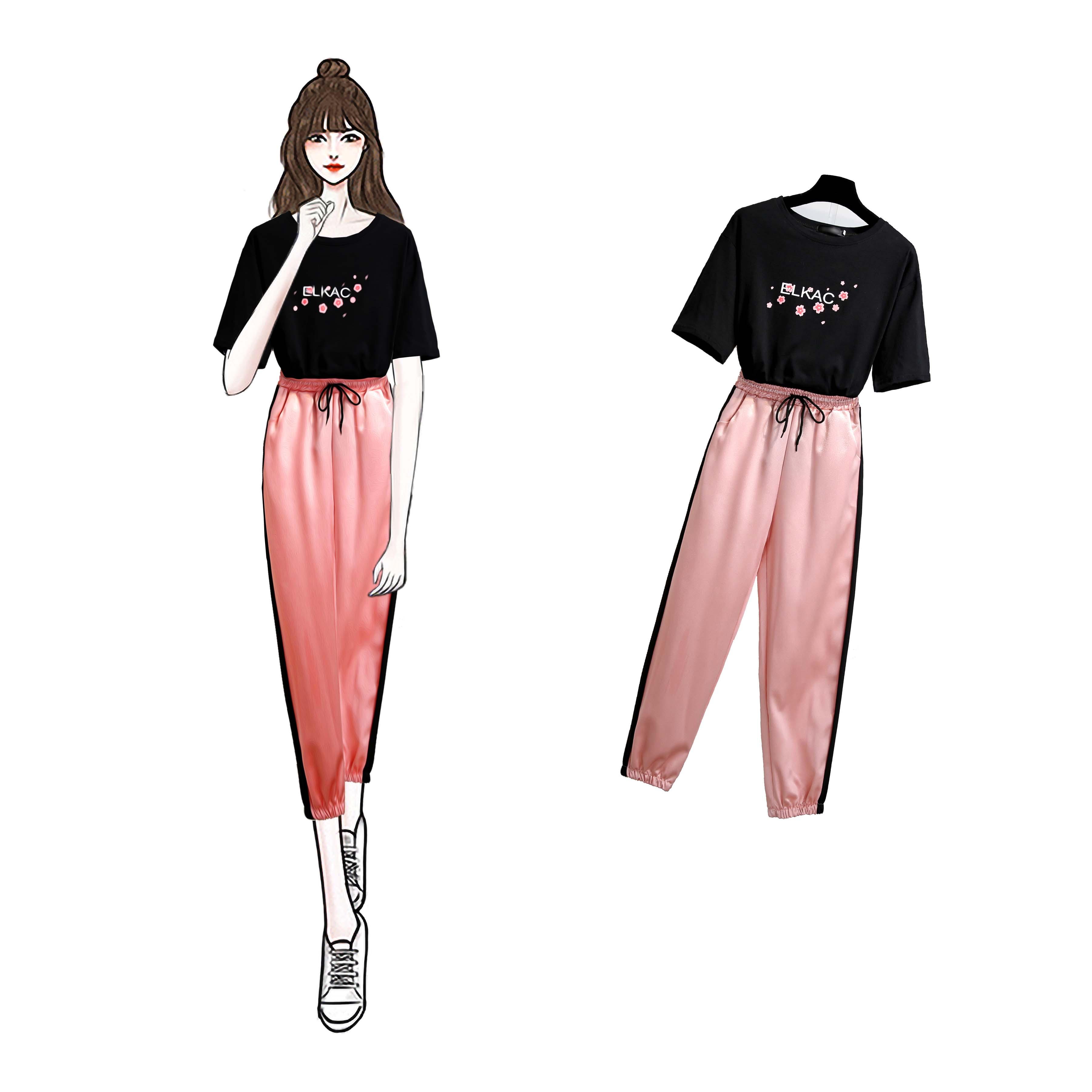 2019夏装新款大码女装胖妹妹遮肚显瘦时尚套装胖mm洋气运动两件套
