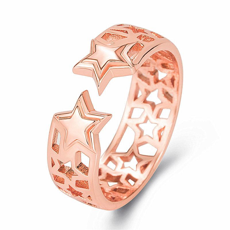 欧美个性镂空五角星戒指 放心璀璨轻巧创意宽版镂空设计星星戒指