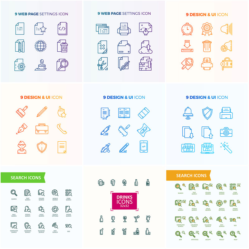 9 sets of flat thin line office icon search stationery icon business web vector image graphic design material