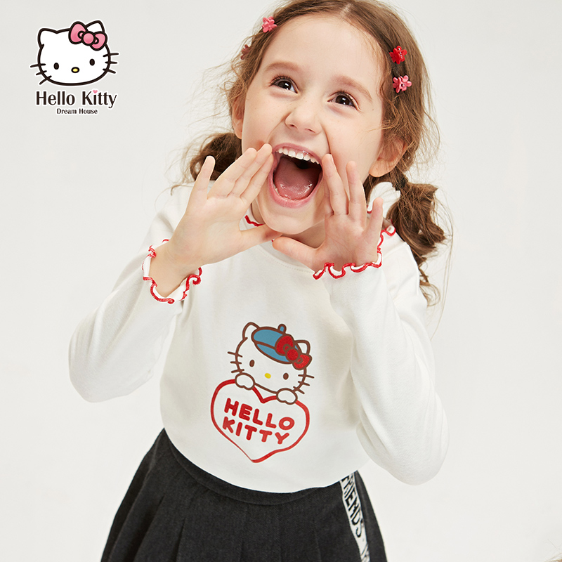 Hello Kitty kids' 2020 spring new girls' medium and large children's bottoming shirt long sleeve Knitted Top T-shirt