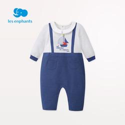 丽婴房春装男宝宝哈衣爬服新款针织婴儿连体衣假两件外出哈衣2021