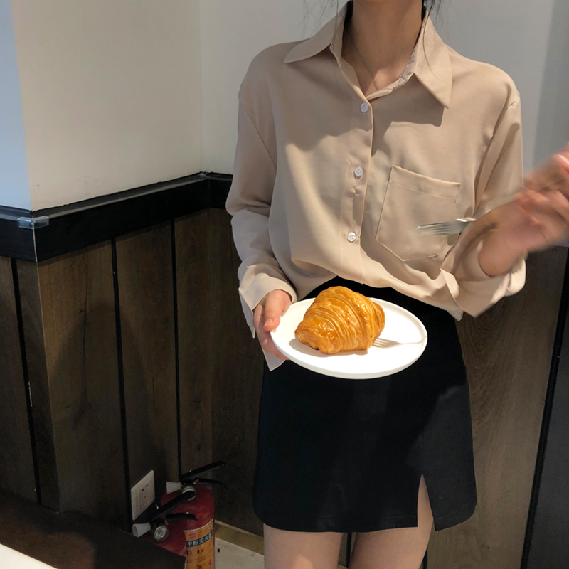 实拍实价 纯色口袋长袖衬衣春装女2019新款韩版百搭衬衣