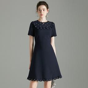 2020夏季新款圆领铆钉荷叶边连衣裙