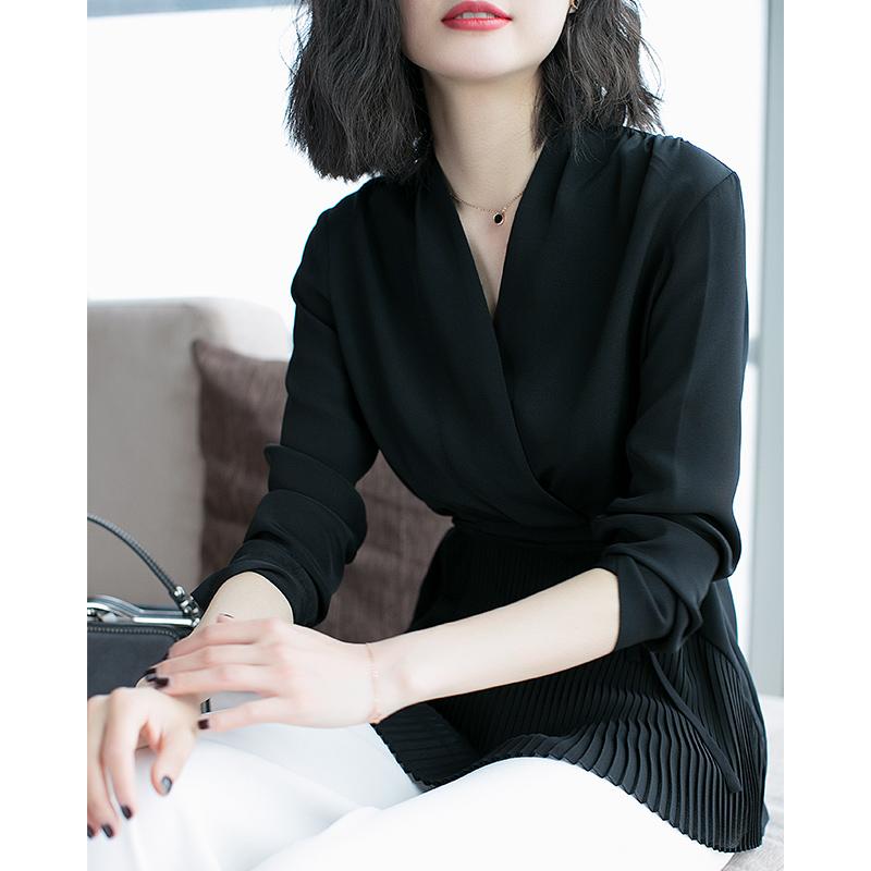 爆红单品v领百褶收腰上衣黑色雪纺衬衫女士长袖衬衣2018夏季新款