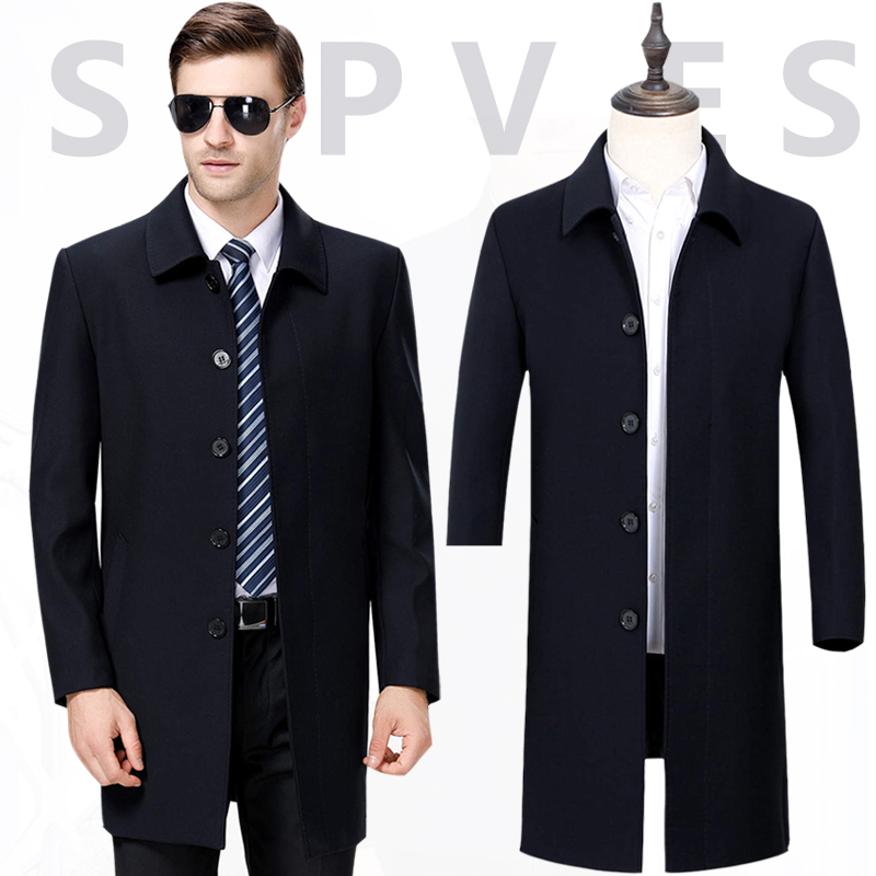 High end boutique mid long jacket spring and autumn Lapel dad coat mens business coat casual wool jacket