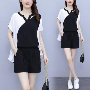 YF52780# 大码女装夏新款时尚休闲洋气遮肚子棉麻上衣+短裤两件套 服装批发女装直播货源
