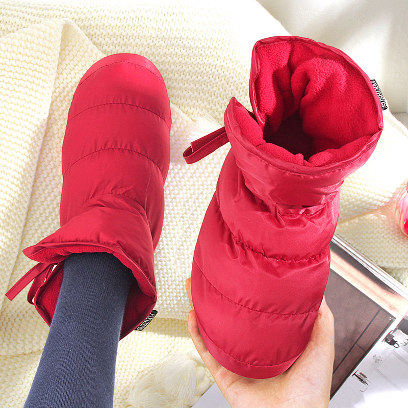 新款情侣居家棉鞋冬软底羽绒棉拖鞋 室外防滑保暖雪地靴 女月子鞋