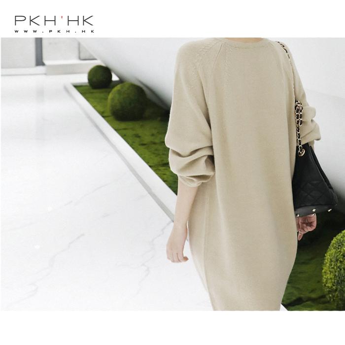 PKH.HK特 秋季新品 简单有小心思设计的好穿好搭羊毛针织连衣裙