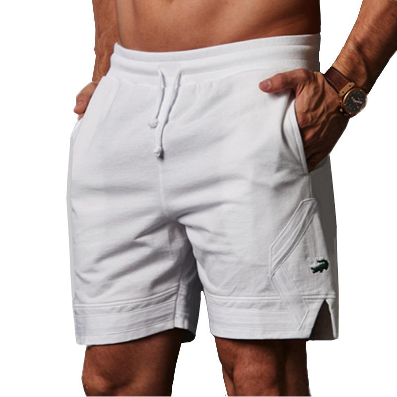 卡帝乐鳄鱼100%纯棉透气休闲运动健身裤沙滩宽松跑步五分短裤男