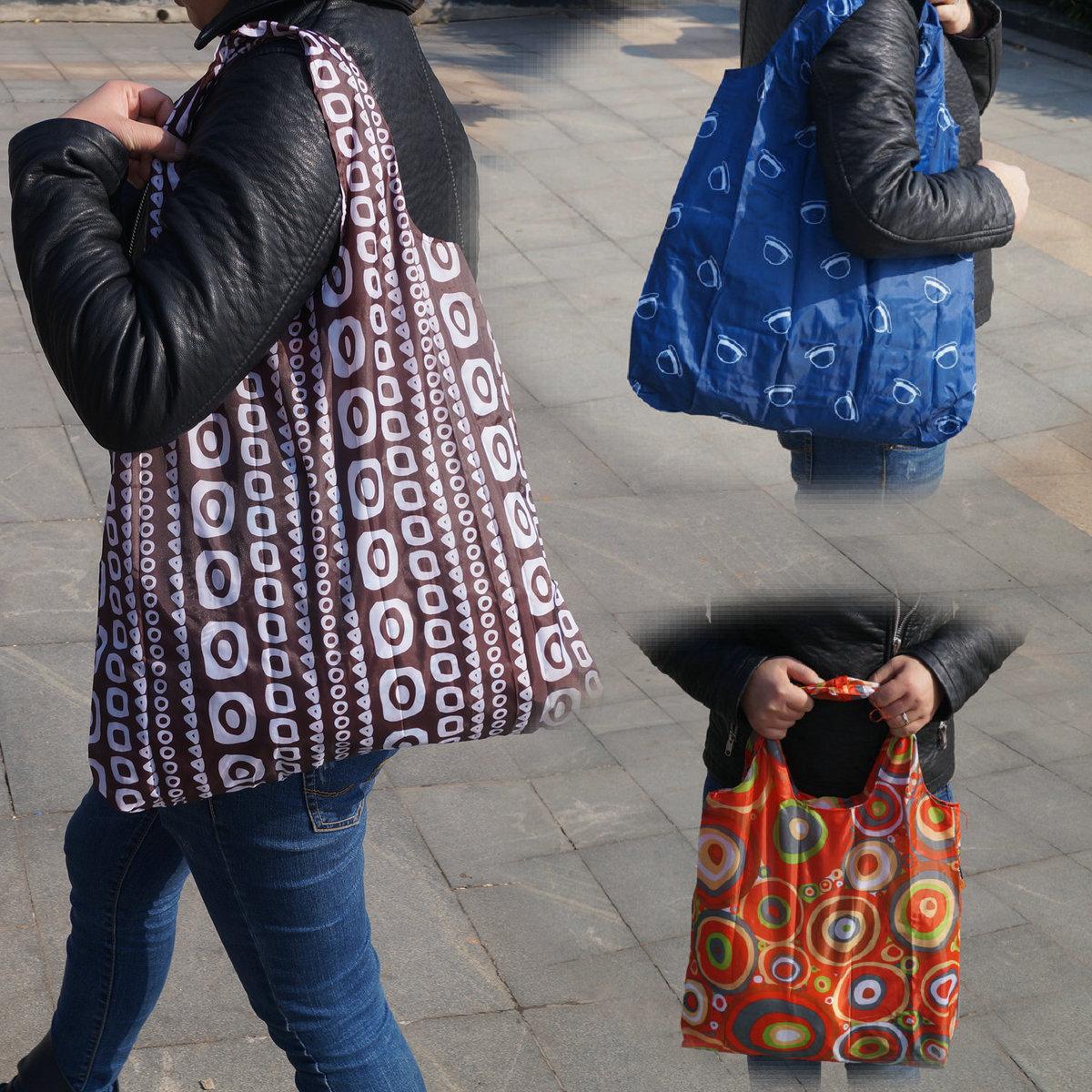 Fashion fashion outside folding shopping bags large capacity supermarket shopping bags portable environmental protection bags 10kg load bearing