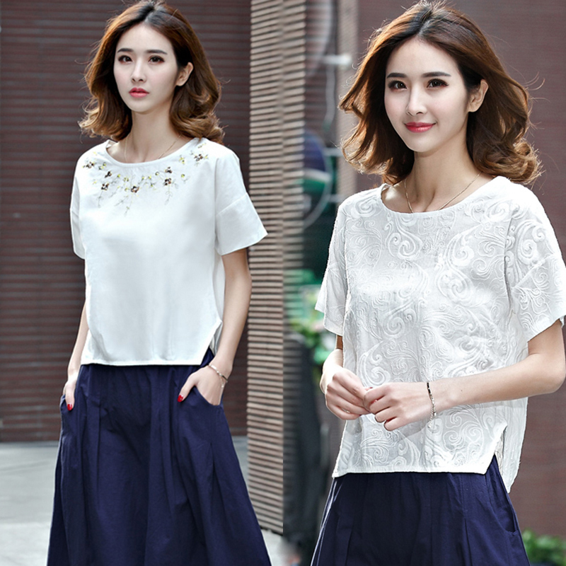 刺绣棉麻短袖T恤女装夏季宽松大码半袖上衣百搭文艺亚麻白色体恤