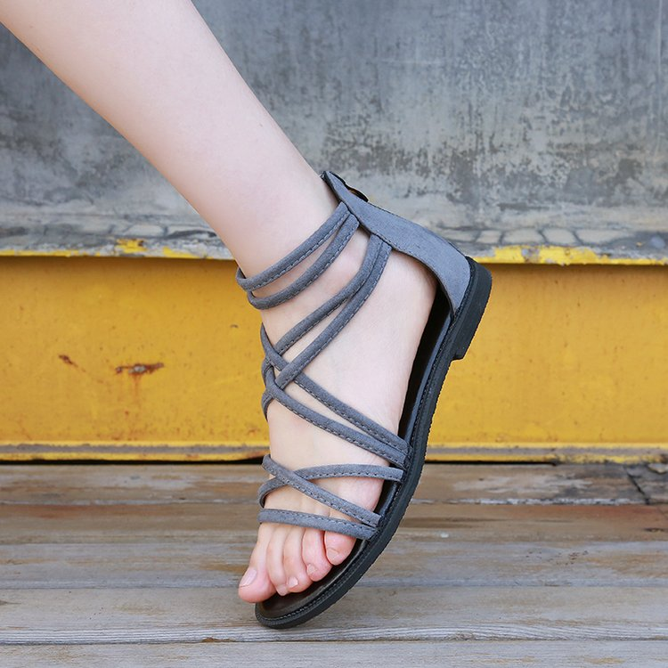 2021 autumn new fashion sandals womens shoes Korean version rubber suede foot ring strap low heel adhesive shoes flat bottom empty