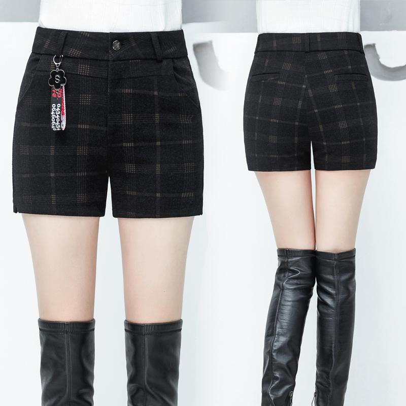 毛呢格子短裤女冬款2018新款韩版百搭高腰外穿秋冬款冬季呢子靴裤