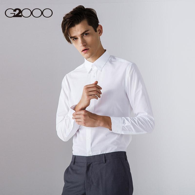 G2000白衬衫男长袖上班百搭配西装港风修身衬衣职业正装衬衫图片