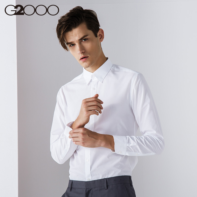 G2000�r衫男�L袖防�商�漳醒b 工作休�e正�b衣服修身薄款白色�r衣