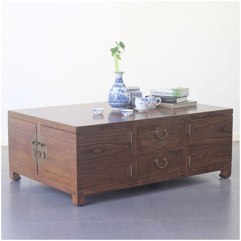 新中式品质实木茶几复古榆木旋转咖啡台现代古典储物茶桌整装茶台