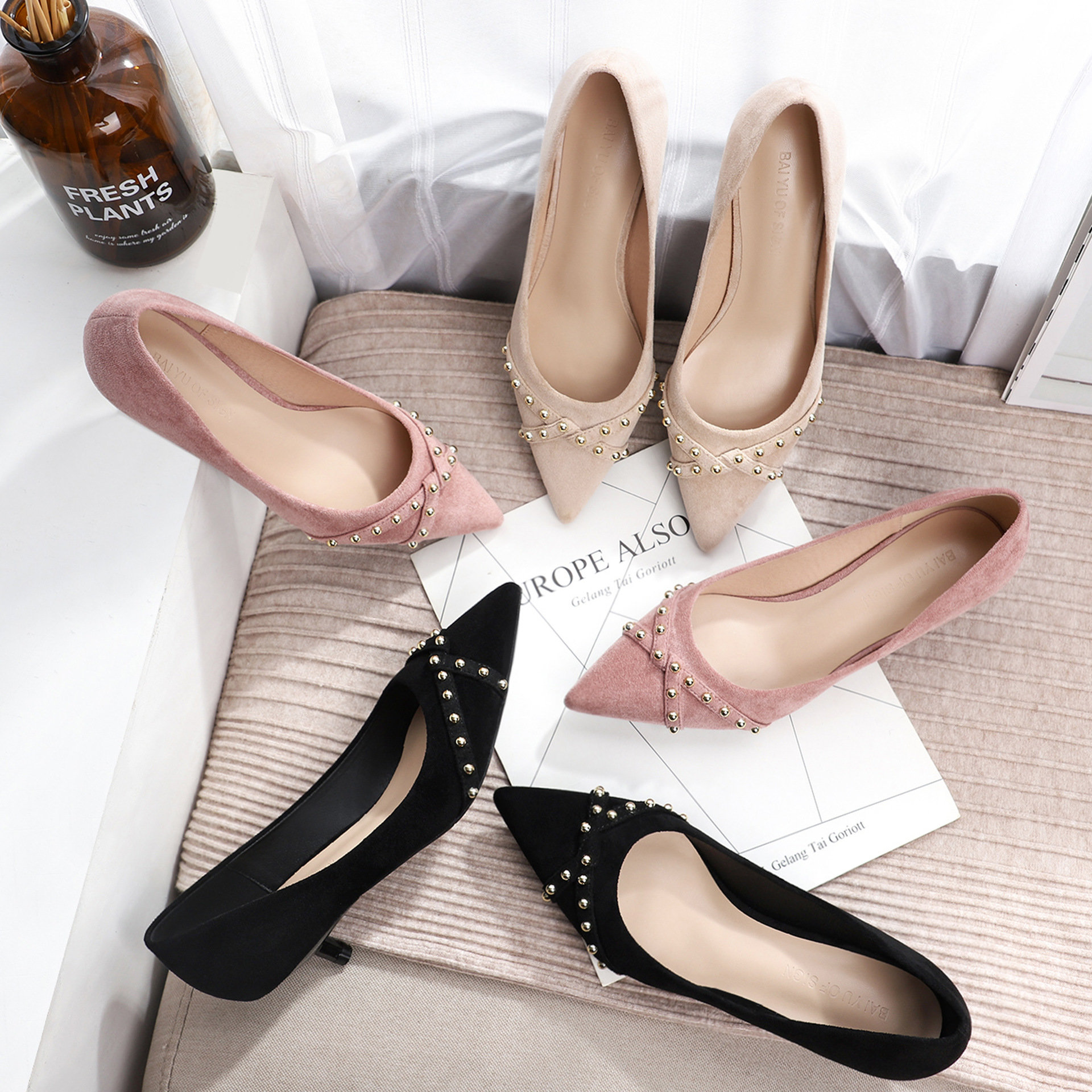 Elegant elegant womens shoes high heel shoes 3cm thin heel low heel pointed suede professional casual shoes BY296