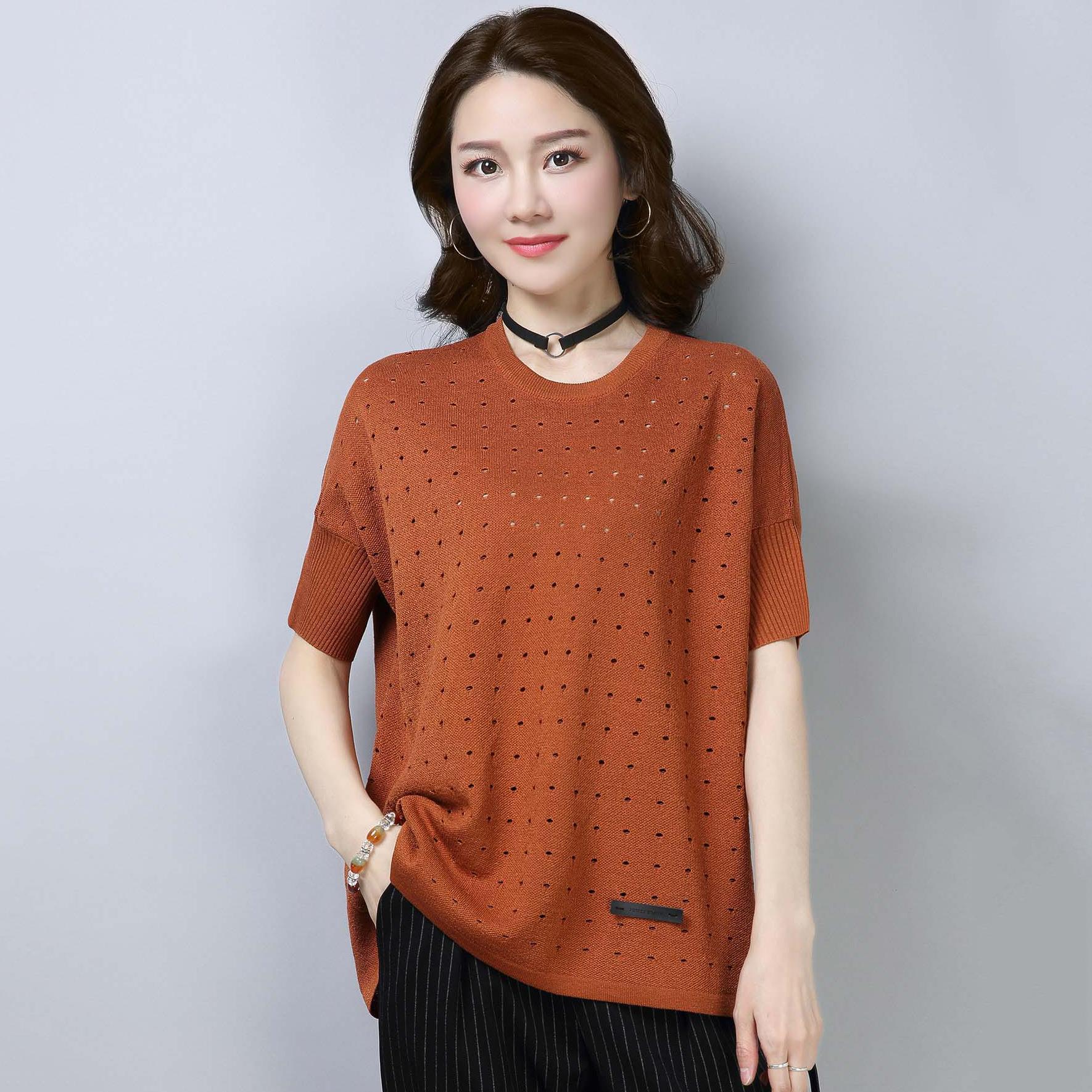 2018夏季新款女装韩版圆领冰丝短袖T恤镂空宽松薄针织衫私人定制