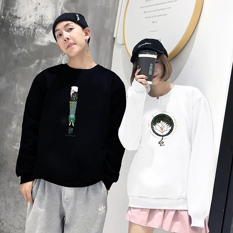 韩国2019秋季新款情侣套头卫衣女加绒加厚圆领宽松百搭薄款外套