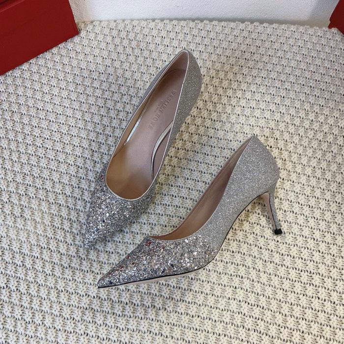 2021春季原单新款尖头浅口渐变闪亮细跟高跟婚鞋宴会鞋舒适单鞋女