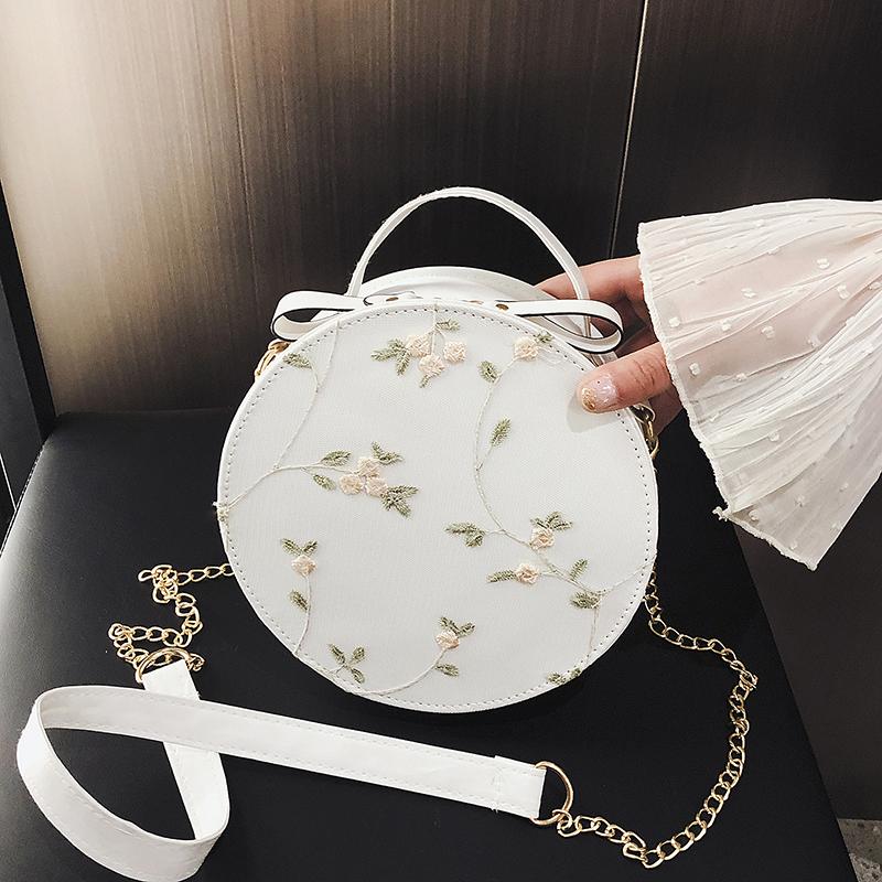 小包包2020夏季新款百搭仙女包包時尚蕾絲繡花小圓包單肩斜挎女包