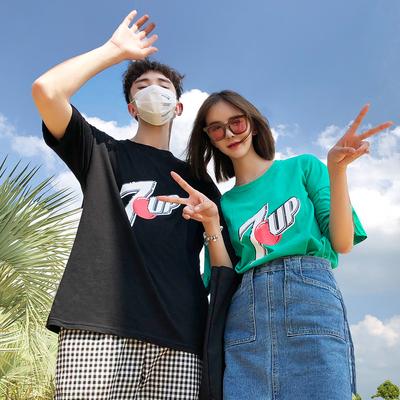 2018夏季新款情侣装圆领短袖女学生宽松韩版百搭ins同款T恤班服潮