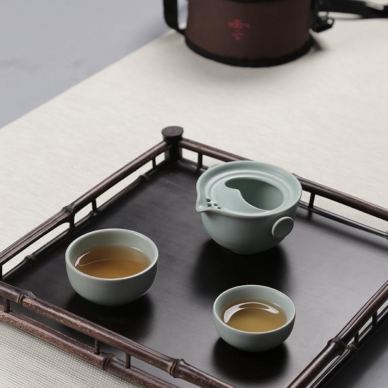 汝窯快客杯旅行便攜功夫茶具套裝整套小茶壺陶瓷汝瓷龍泉青瓷家用