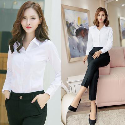白色衬衫女韩版衬衣正装v领长袖职业装工装修身工作服寸衫棉百搭