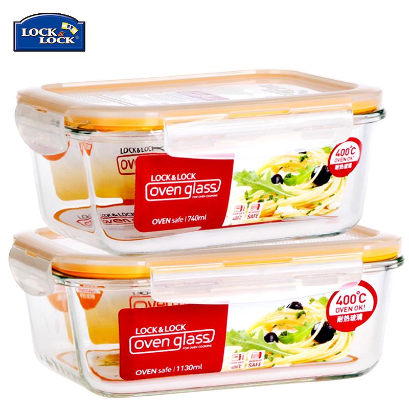 韓國樂扣樂扣玻璃保鮮盒大容量微波爐飯盒便當盒冰箱冷凍收納套裝