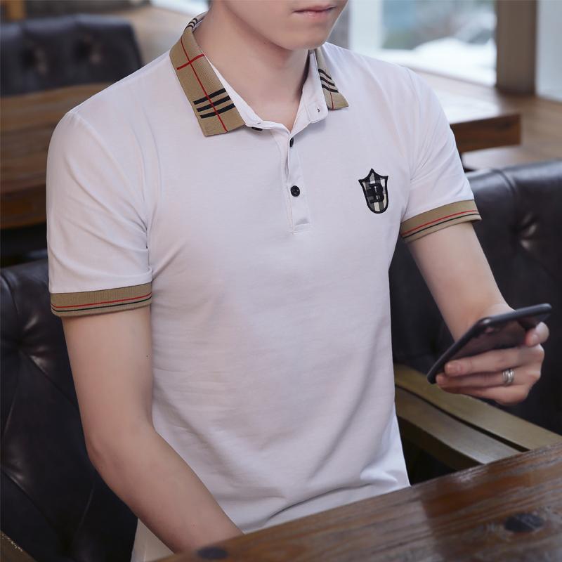 2020新款韩版男装短袖Polo衫夏装纯棉短袖T恤修身休闲百搭上衣