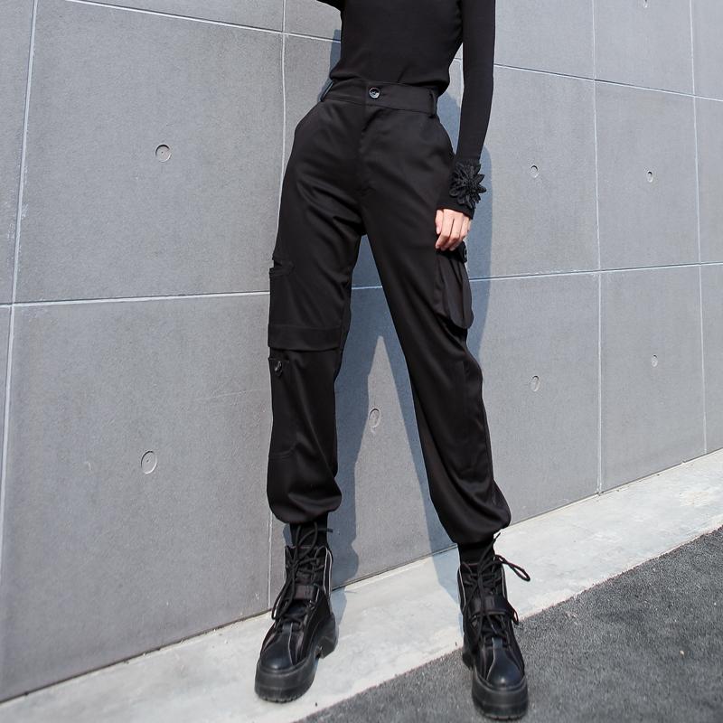 欧洲工装裤女2019春季新款显瘦高腰宽松bf直筒嘻哈潮ins束脚裤子