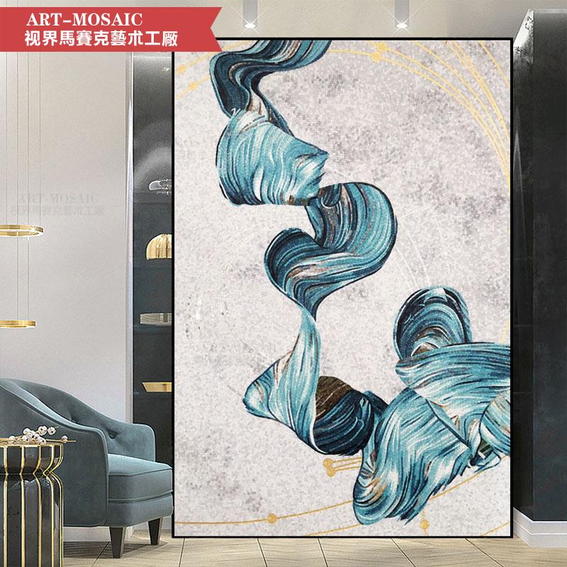 个性定制玻璃马赛克剪画拼图玄关餐厅背景墙贴壁画现代简约抽象