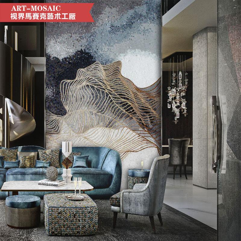 个性定制玻璃马赛克背景墙瓷砖玄关餐厅拼图阳台现代简约拼花剪画