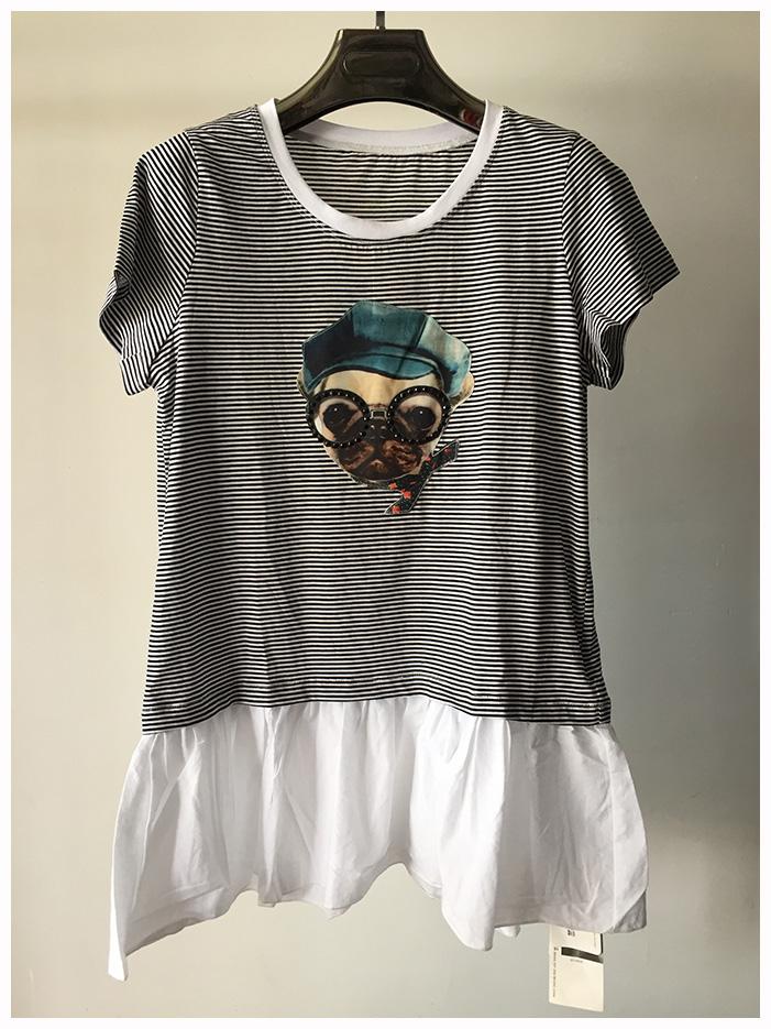 水淼大码女装纯棉条纹图案T恤狗狗带眼镜超有范儿精品库存热销