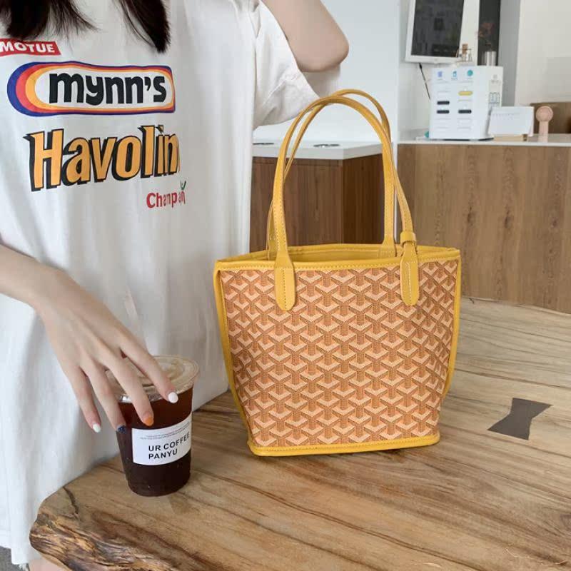 韩国mini复古狗牙包网红质感购物袋ins水桶包2020新款手提手拎包