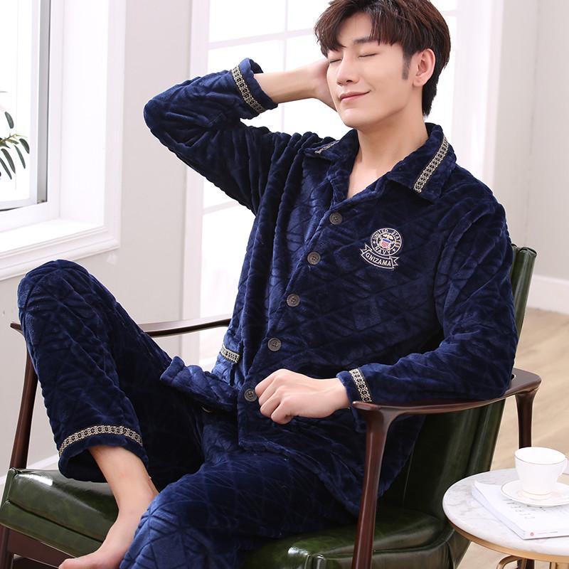 Пижама мужчина зима коралл утолщённый плюс бархат зимой фланель теплый длинный рукав домой одежда мужской установите