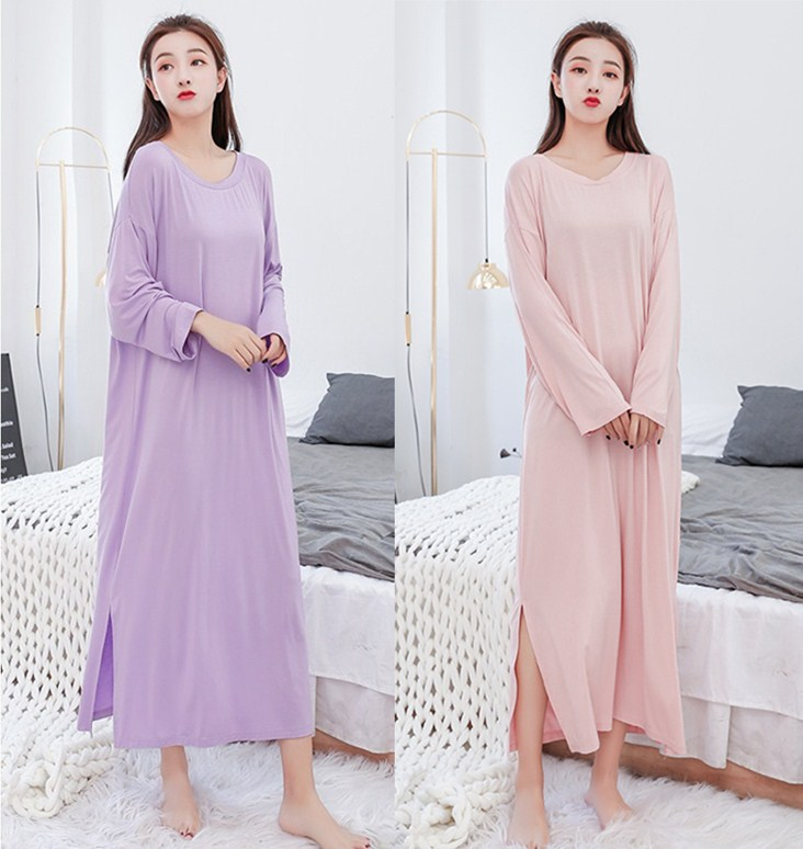 Spring and autumn nightdress female modal long sleeve long pure cotton loose summer super long skirt pajamas thin size to ankle