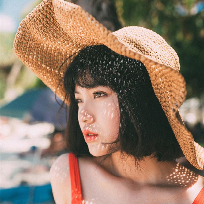 可折叠大沿草帽 女度假防晒太阳帽夏季遮阳帽子 沙滩旅游大檐草帽