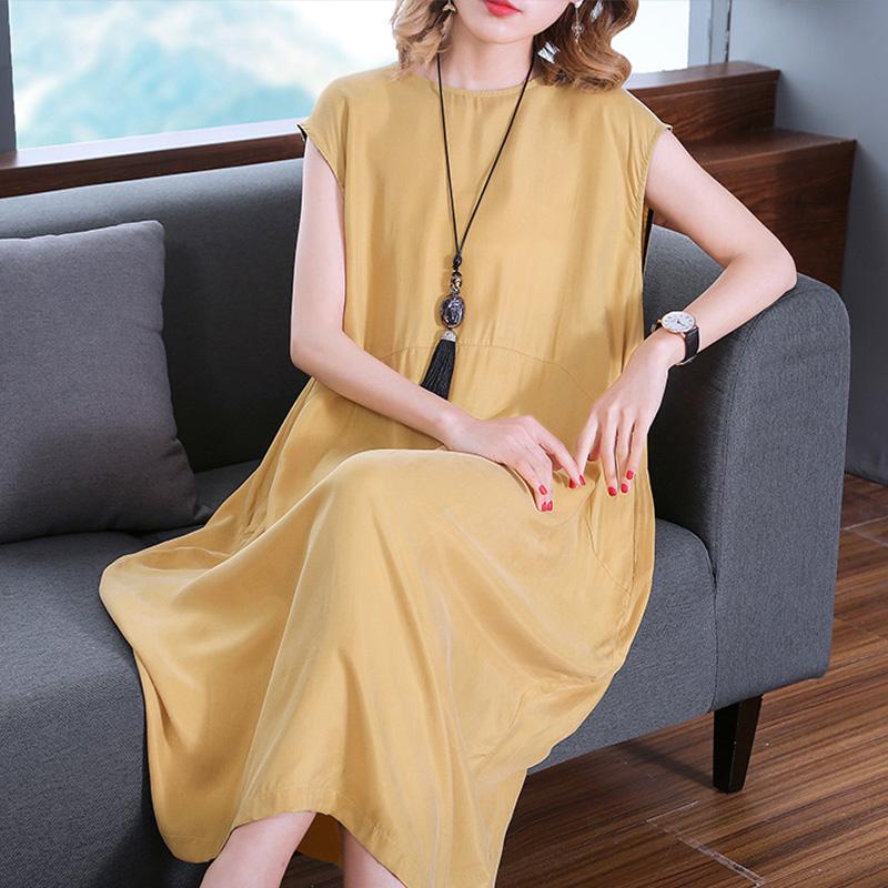 重磅铜氨丝连衣裙夏2021高端酸醋真丝气质大码洋气度假海边背心裙
