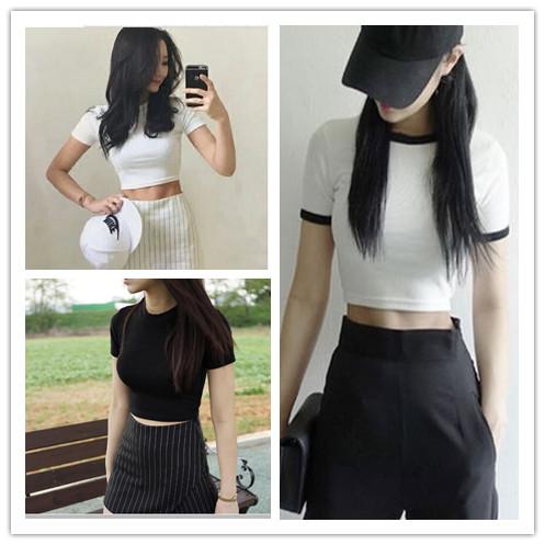 夏季新款韩版白色短款短袖t恤女露脐高腰性感纯棉简约紧身上衣服