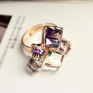 韩国时尚璀璨彩色立体水晶优雅百搭欧美韩版女戒夸张女士戒指