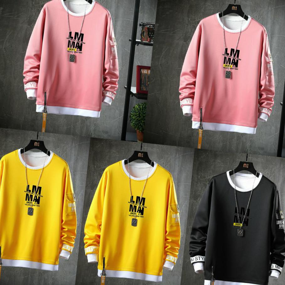 Spring and autumn mens round collar Pullover long sleeve sweater Korean mens casual easy wear bottoming shirt