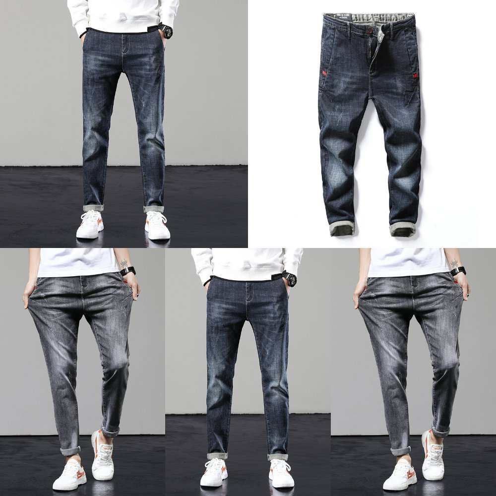Fashion brand pants men 2021 spring and autumn mens youth fashion trend slim fit small feet mens casual pants jeans cotton